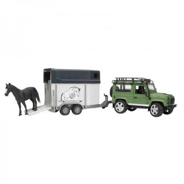 Land Rover Defender mit Pferdeanhänger, Pferd 1:16