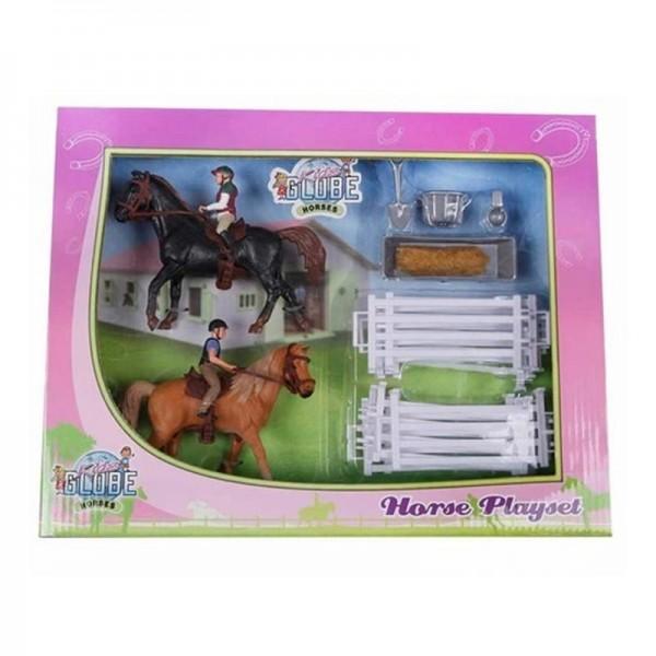 Pferdespielset 2 Pferde + 2 Reiter