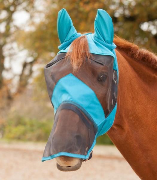 Fliegenmaske Premium mit Ohren petrol- und Nasenschutz für Pferde