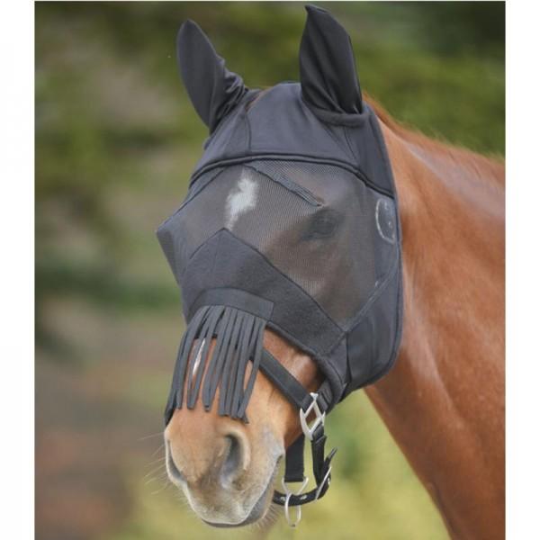 Fliegenmaske Premium mit Ohren & Fransen schwarz